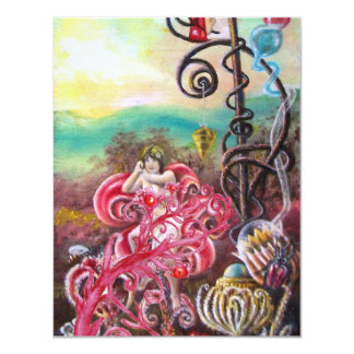 GARDEN OF THE MELISSA, bright red ,pink green 11 Cm X 14 Cm Invitation Card