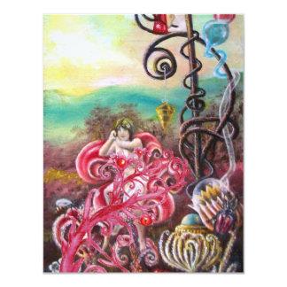 GARDEN OF THE MELISSA, bright red ,pink violet 11 Cm X 14 Cm Invitation Card