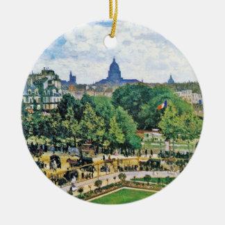 Garden of the Princess Claude Monet  fine art Double-Sided Ceramic Round Christmas Ornament