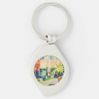 """Garden On Lake Thun"" Art key chain Key Rings"