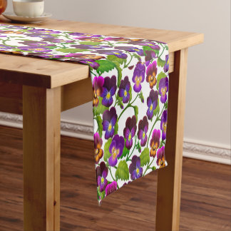 Garden Pansy Flowers Table Runner