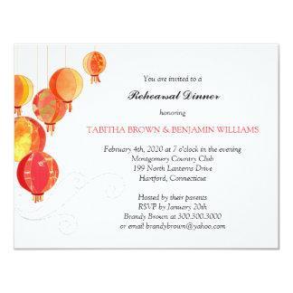 Garden Paper Lanterns Wedding Rehearsal Dinner 11 Cm X 14 Cm Invitation Card