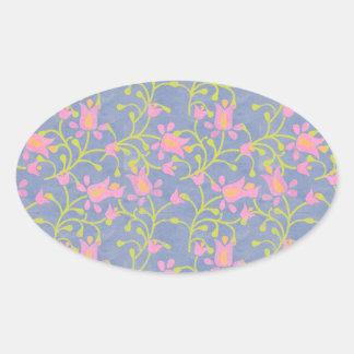 Garden Party Blue Grey Oval Sticker