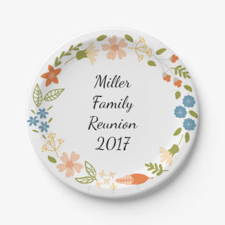 Garden Party Floral Personalized Paper Plates 7 Inch Paper Plate