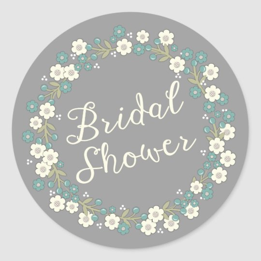 Garden Party Floral Wreath Bridal Shower Blue Classic