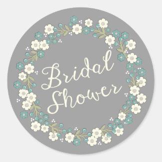 Garden Party Floral Wreath Bridal Shower Blue Round Sticker