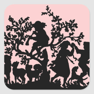 Garden Party In Pink And Black Square Sticker