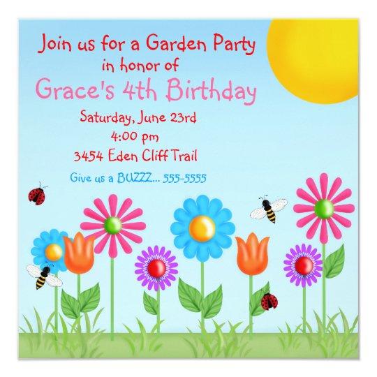 Garden Party Ladybug Birthday Invitations