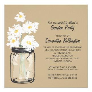 Garden Party Mason Jar White Daisies Custom Invites