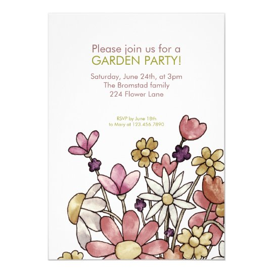 Garden Party Watercolor Flowers Invitation