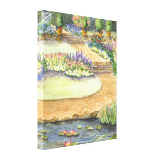Garden Path by the Lily Pond and Gate Floral Stretched Canvas Prints