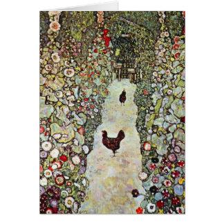 Garden Path w Chickens, Gustav Klimt, Art Nouveau Card