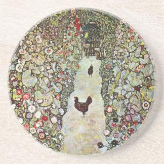 Garden Path w Chickens, Gustav Klimt, Art Nouveau Coaster