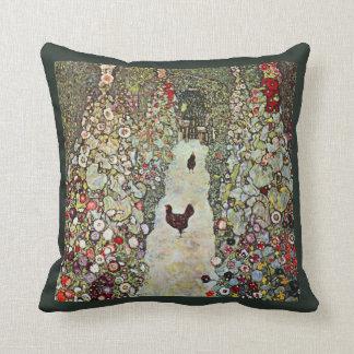 Garden Path w Chickens, Gustav Klimt, Art Nouveau Cushion