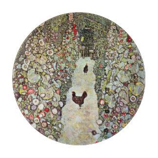 Garden Path w Chickens, Gustav Klimt, Art Nouveau Cutting Board