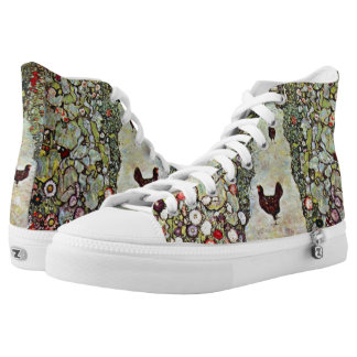Garden Path w Chickens, Gustav Klimt, Art Nouveau Printed Shoes