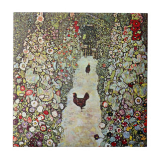 Garden Path w Chickens, Gustav Klimt, Art Nouveau Small Square Tile
