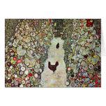 Garden Path with Chickens, Klimt, Art Nouveau Cards