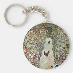 Garden Path with Chickens, Klimt, Art Nouveau Key Chain