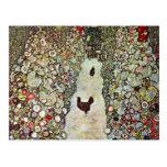 Garden Path with Chickens, Klimt, Art Nouveau Postcard