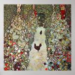Garden Path with Chickens, Klimt, Art Nouveau Posters
