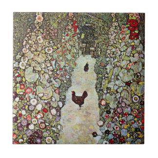 Garden Path with Chickens, Klimt, Art Nouveau Small Square Tile