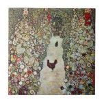 Garden Path with Chickens, Klimt, Art Nouveau Ceramic Tiles