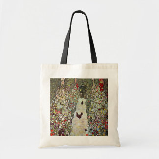 Garden Path with Chickens, Klimt, Art Nouveau Canvas Bags