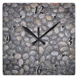 Garden Pebbles Square Wall Clock