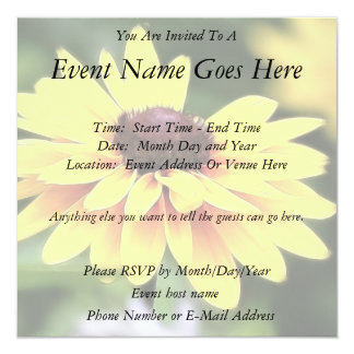 Garden Perfection - Black Eyed Susan Personalized Invitation
