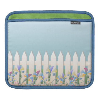 Garden Picket Fence and Flowers iPad Sleeve