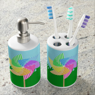 Garden Pinwheel Soap Dispenser And Toothbrush Holder
