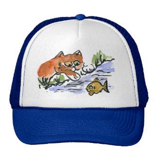 Garden Pond and Curious Kitten Cap