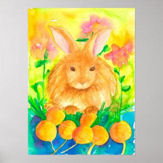 Garden Rabbit Carrots Watercolor Flowers Poster