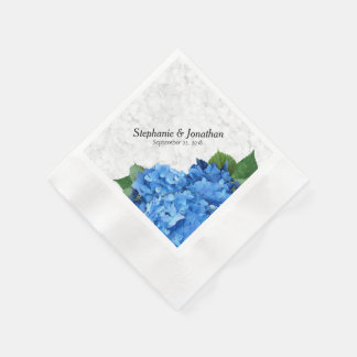 Garden Romance Blue Hydrangea Floral Napkins Paper Napkin