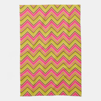 Garden Rose Chevron in Pink and Green Tea Towel