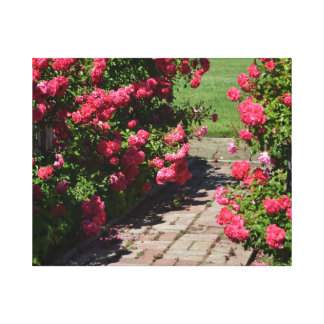 Garden Roses Path Gallery Wrapped Canvas