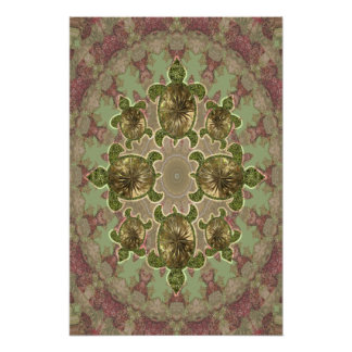 Garden Sea Turtles Pattern Prints and Posters