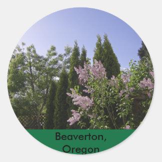 Garden Sky View in Beaverton, Oregon Round Sticker