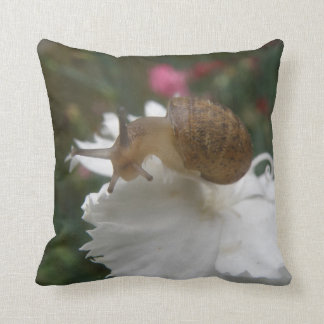 Garden Snail and White Carnation Pillow