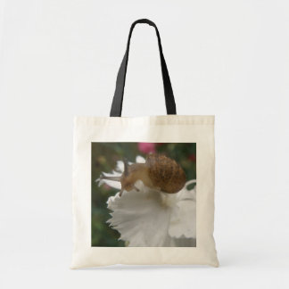 Garden Snail and White Carnation Tote Bag
