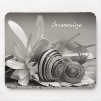 Garden Snails On Daisy Flower With Name Mouse Mat