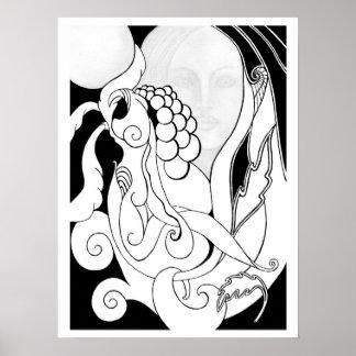 Garden snails original fantasy art poster