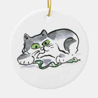 Garden Snake and the Curious Kitten Christmas Ornament