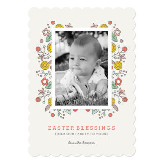 Garden Soiree Easter Card - Crimson 13 Cm X 18 Cm Invitation Card