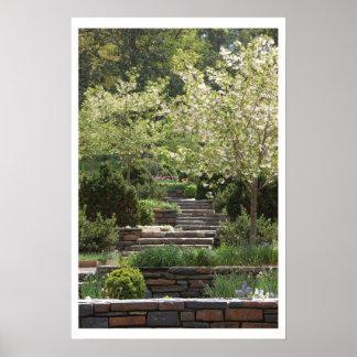 Garden Stairway (w/border) Poster
