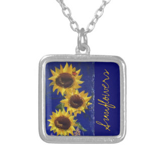 """Garden Sunflowers"" necklace; RhubarbStreet Silver Plated Necklace"