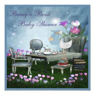 Garden Tea Party Bring A Book Baby Shower 13 Cm X 13 Cm Square Invitation Card