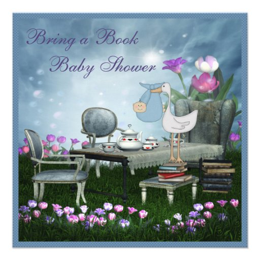 Garden Tea Party Bring A Book Baby Shower Custom Invites