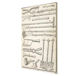 Garden tools, from 'The Dutch Gardener' by Johann Canvas Print